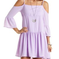 Crochet-Trim Cold Shoulder Shift Dress by Charlotte Russe
