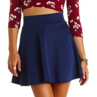 Solid High-Waisted Skater Skirt by Charlotte Russe - Navy Blue