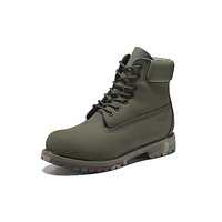Timberland 10061 Leather Lace-Up Boot Men Women Shoes Army Green