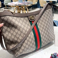 GUCCI Fashion New Stripe More Letter Leather Shoulder Bag Crossbody Bag