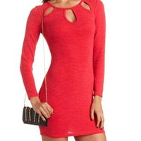 Cut-Out Body-Con Sweater Dress by Charlotte Russe - Coral
