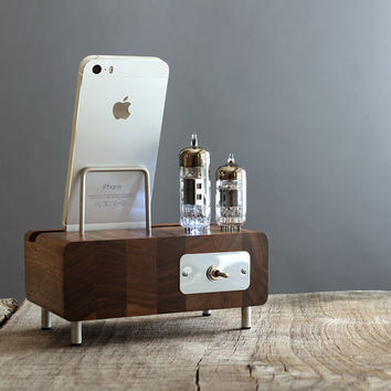 LED illuminated dock for iPhone Samsung Galaxy handcrafted butcher block from walnut wood with triple electron tubes - rounded edges