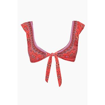 Cap Sleeve Front Tie Bikini Top - Indonesia Red Floral Print