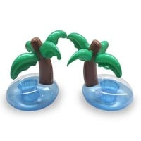 DCCK7N3 Summer Swimming Pool Floating Inflatable Coconut Trees Water Drinks Cup Beach Mobile phone Cup Care Floating Row