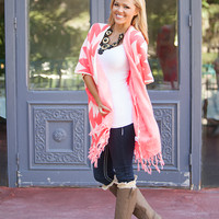 Over Size Chevron Fringe Sweater Pink CLEARANCE