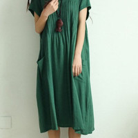 Green Long Skirt / Casual Skirt/Cotton Skirt/Sleeveless Dress/Summer clothes/Maternity Dress