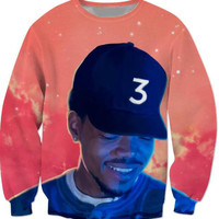 Popular chance the rapper 3 Sweatshirt Red Space Crewneck Casual Fashion Clothing Hoodies Outerwear Jumper Tees