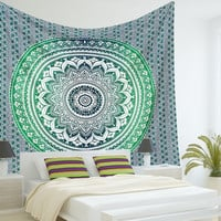 Indian Mandala Tapestry Hippie Hippy Wall Hanging Throw Bedspread Dorm Tapestry Decorative Wall Hanging , Ombre Mandala Tapestries