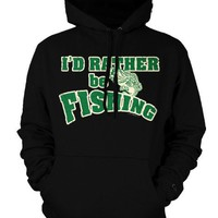 I'd Rather Be Fishing Mens Sweatshirt, Hilarious Funny Fishing Mens Pullover Hoodie