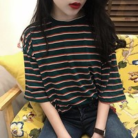 Oversized Vintage Striped Tee