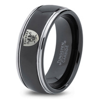 Oakland Raiders Ring Mens Fanatic NFL Sports Football Boys Girls Womens NFL Jewelry Fathers Day Gift Tungsten Carbide 123c