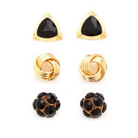 TRIANGLE, SPHERE & KNOT EARRINGS - 3 PACK