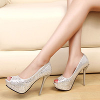 fish mouth waterproof platform heels