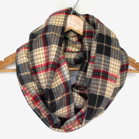 Plaid Flannel Infinity Scarf, Plaid Scarf, Flannel Scarf, Plaid Infinity Scarf, Fall Scarf, October Trends // Unisex Scarf // Plaid Scarves