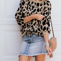 New Khaki Leopard One Shoulder Long Sleeve Casual Pullover Sweater
