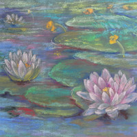 Lotus Flower Art Painting, Zen Decor, Yoga Room, Water Lilies, ORIGINAL PASTEL DRAWING, Hand drawn Water Landscape, Mother day gift, Artwork