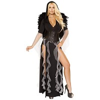Sexy Dark Guardian Hooded Skirted Romper and Cincher