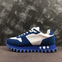 Louis Vuitton Lv Runner Sneaker Suede Calf Leather And Textile Blue - Best Online Sale