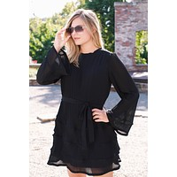 Hepburn Pleated Ruffle Mini Dress, Black