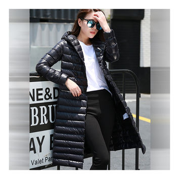 Hooded Thin Light Middle Long Down Coat Slim Woman    black   S