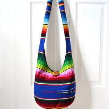 Hobo Bag, Sling Bag, Serape Blanket, Southwestern, Mexican Blanket, Striped, Colorful, Hippie Purse, Crossbody Bag