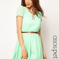 ASOS PETITE Exclusive Skater Dress With Twist Neck And Belt at asos.com
