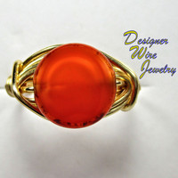 DWJ0231 Stunning Czech Glass Carrot Cake Solitaire Gold Wire Wrap Ring All Sizes