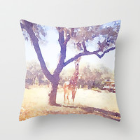 Giraffe Painting 2 Throw Pillow by Elyse Notarianni
