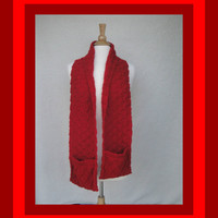 Bright Red Scarf with Pockets, Hand Warmer Scarf, Gift for Women Men Teens, Hand Knit