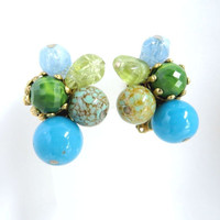Hattie Carnegie Glass, Lucite Earrings, Vintage 1960s Blue, Green, Gold Tone Clip ons