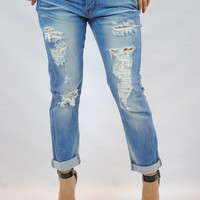 (ane) Medium wash distressed stretch boyfriend jeans