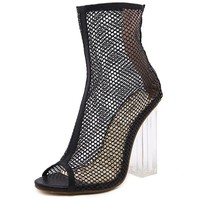 Peep Toe ankle sandals boots crystal square heels women's Mesh Hollow out high heels shoes woman pumps zipper Hollow ventilation