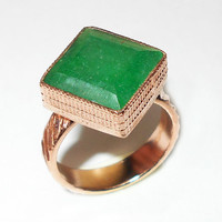 Emerald Ring - Handmade Ring, Square Gemstone Ring, Bezel Set Ring, Statement Ring, Green Stone Ring, Handcrafted Ring - Green Corundum Ring