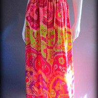 Vintage 1960s 70s Psychedelic Print Bright Bold Groovy High Waist Festival Maxi Skirt