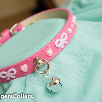 Magenta Vegan Leather Collar with Hearts and Pearls Collar unique one-off Kitten Play Collar ddlg bdsm slave collar mature