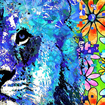 'Beauty And The Beast Half Face - Lion Art - Sharon Cummings' by Sharon Cummings
