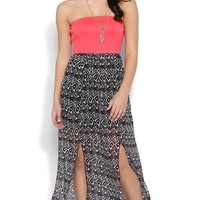Strapless Maxi Dress with Double Slit Hem and Open Bow Back
