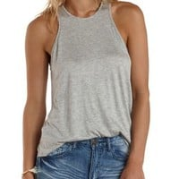 Heather Gray Slouchy Racer Front Tank Top by Charlotte Russe