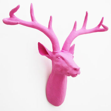 Valentines for Her, Pink Deer Head, Faux Deer Head, Faux Taxidermy, Faux Stag Head, Deer Wall Mount, Faux Animal Head, Hodi Home Decor