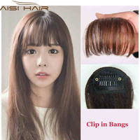 Apply Hair Clip in Bangs Fake Hair Extension Hairpieces False Hair Piece Clip on Front Neat Bang For Women Synthetic Fringe Bang