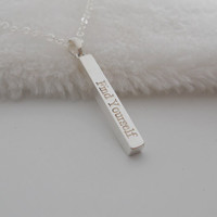 Find Yourself Bar Necklace Silver,Engraved Quote Necklace,Vertical Wording Necklace,Long Bar Jewelry,Custom Bar Necklace