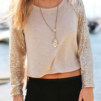 Khaki Long Sleeve Sequin Shirt