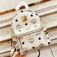 MCM New fashion more letter print leather mini book bag backpack bag handbag