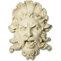 Neptune Trevi Fountain Mask Wall Relief 15H, Assorted Colors