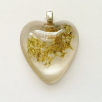 Real Yellow Moss Heart Resin Pendant with Bail - Folk Woodland Jewelry Hippie Pendant