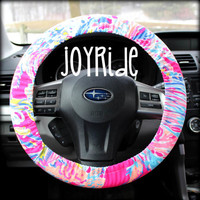Lilly Pulitzer Fabric Steering Wheel Cover Pink Sunken Treasure Fully lined with Grip Tight Designer Car Accessories Designer