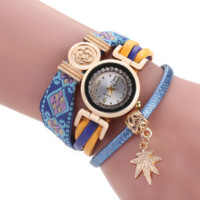 Bohemian Ethnic Handmade Braided Maple Leaf Pendant Bracelet  Quartz Watch