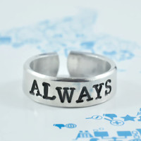 ALWAYS - Hand Stamped Aluminum Ring, Harry Potter Inspired Ring