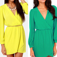 SIMPLE - Hot Popular Chiffon Long Sleeve V Neck One Piece Dress b108