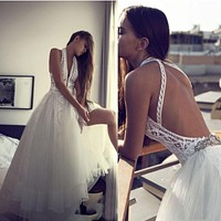Romantic Boho Beach Wedding Dresses Sexy Backless Halter Hippie Style Bridal Gowns 2017 Chic Lace Plus Tulle Trendy Party Dress